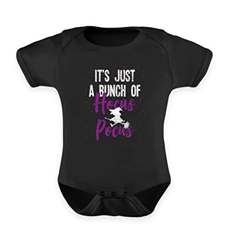 Shirtee Es ist nur Hocus Pocus - Hexe - Hexen Halloween Kostüm - Baby Body -0-6 Monate-Schwarz