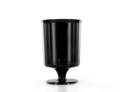 10 verres à pied plastique jetables noir