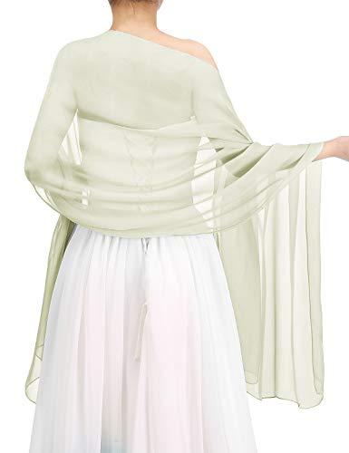 bbonlinedress Schal Chiffon Stola Scarves in Verschiedenen Farben Ivory 200cmX75cm