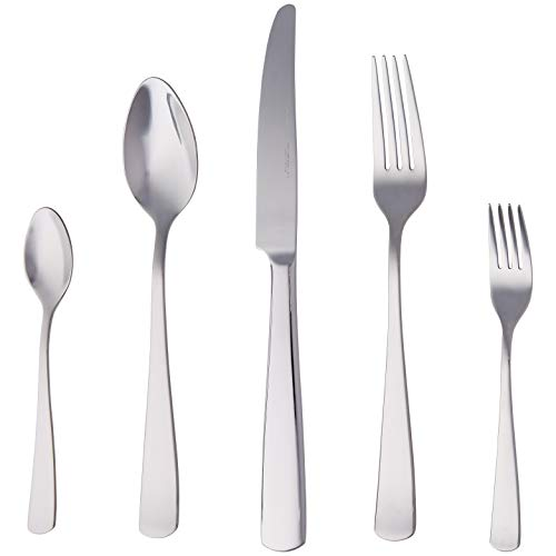 AmazonBasics Piece Stainless Steel Flatware Set with Square Edge