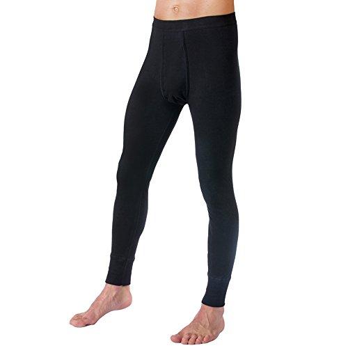 HERMKO 3540 Herren lange Unterhosen mit Eingriff und Weichbund aus 100% Baumwolle in Feinripp, verschiedene Farben, Farbe:schwarz, Größe:D 5 = EU M (Leggings Länge Lange)