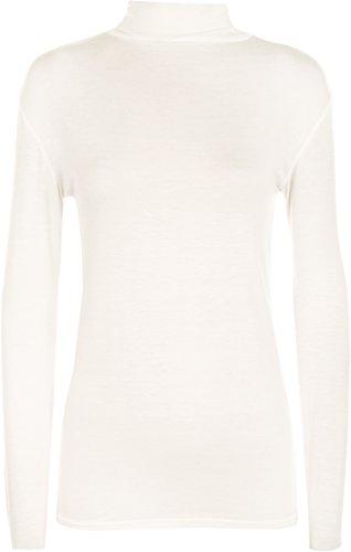 WearAll - Neu Damen Rollkragen Elastisch Langarm Top Jumper - Crème - 36-38 (Creme Kleidung Pullover, Damen :)