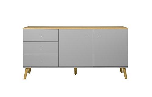 TENZO 1675-612 Dot Designer Buffet 2 Portes, 3 tiroirs, Gris, Structure Façades en MDF Laqué. Plateau du Dessus en Panneaux de Particules placage chêne, 79 x 162 x 43 cm (HxLxP)