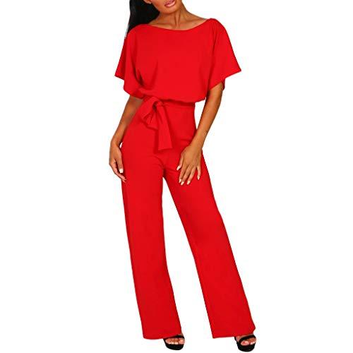 JiaMeng Tuta Nera Attillata Donna, Jumpsuit Estiva Elegante, Vestiti Bimba, Tuta in Pizzo Donna Elegante (Rosso, XL)