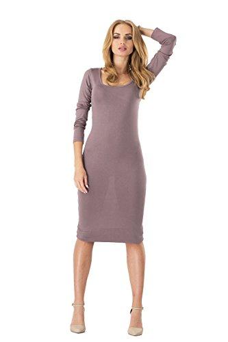 Damen Basic Kleid Mittellang Langarm Abendkleid Dress Cocktailkleid Gr. S M L XL 36 38 40 42, 8994 Cappucino