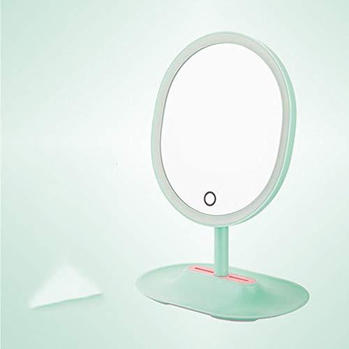 Schminkspiegel Desktop-LED mit Licht füllen Licht Desktop-Dressing kleinen Spiegel net rot tragbare Prinzessin Sonnenspiegel-mintgreen