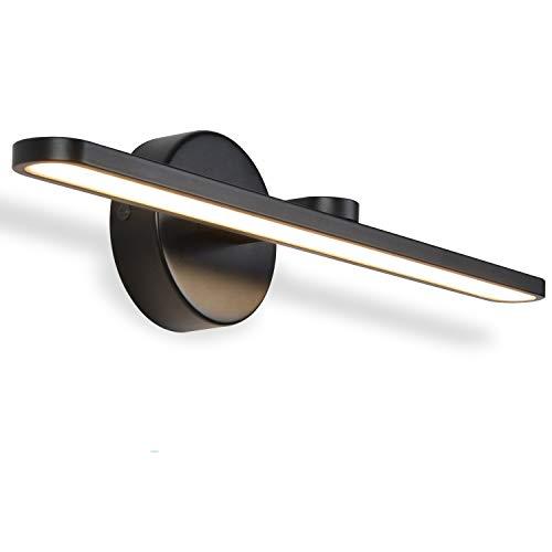 MantoLite Applique murale à LED,40CM Luminaire pour tableaux et vitrines Aluminium Chambre Intérieur Éclairage de salle de bain Lampe de Murale Miroir, Blanc Chaud 11W Noir