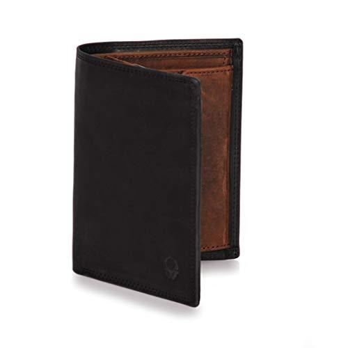 Donbolso Herren Leder Geldbörse Wien - Großes Portemonnaie für Männer - Wallet schwarz braun mit Geheimfach - Geldbeutel mit RFID Schutz