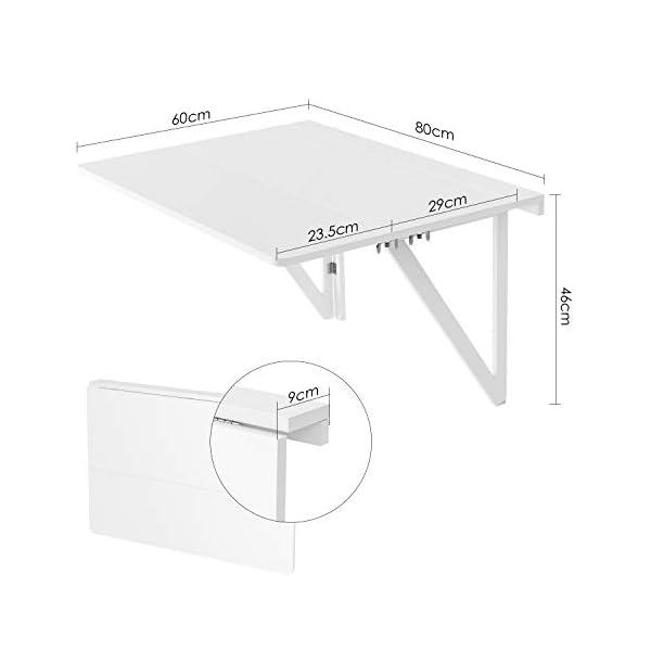 HOMFA Tavolo da Muro in MDF Bianco, Tavolino Pieghevole Salva Spazio ...