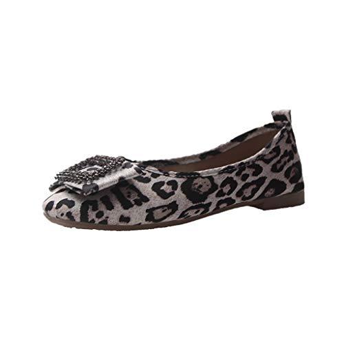 LILIHOT Damen Sandalen Frauen Mädchen Retro Casual Baumwolle Asakuchi Flache Schuhe Art- und Weisefrauen Kristallwölbung beiläufige Beleg-Leopard-Flache quadratische Retro Flache Schuhe -