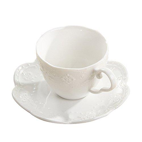 Keramik Kaffee Tasse und Untertasse Sets Schmetterling Relief Teetasse Pure weiß Drinkware Set -