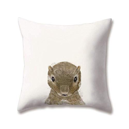 Soft Plush Zoo Cushion Covers Cute Animal Dog Squirrel Deer Bear Bird Printing 18x18/45x45cm Throw Soft Plush Pillow Cases for Home Sofa Bed Decorative
