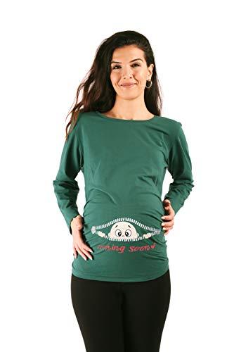 M.M.C. Coming Soon - Lustige witzige süße Umstandsmode Umstandsshirt Sweatshirt Schwangerschaftsshirt mit Motiv für die Schwangerschaft, Langarm (Dunkelgrün, Large)