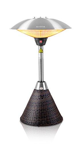Firefly Chauffage Extérieur de Table avec Base en Résine Tressé Marron Radiant Infrarouge 3 Réglages de Chaleur pour Terrasse à Halogène 2100 Watt 1.06m IP44
