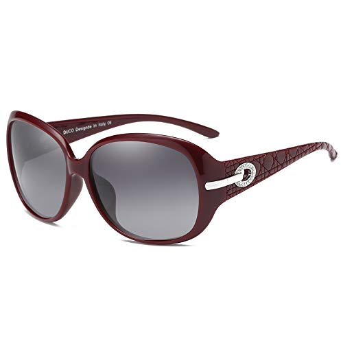 Duco Klassische Damen Sonnenbrille Polarisiert Modische 100% UV-Schutz 6214 (Weinrot)