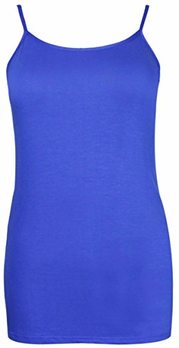 Damen Shirt Trägershirt Einfarbig Ärmellos Stretch Leicht Träger Tank Top Übergröße Neu Königsblau