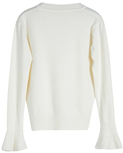 Vogueearth Fashion Hot Femme's Ladies Pagoda Manche Basic Knit Jumper Sweater Chandail Tricots Pullover Top Off-Blanc
