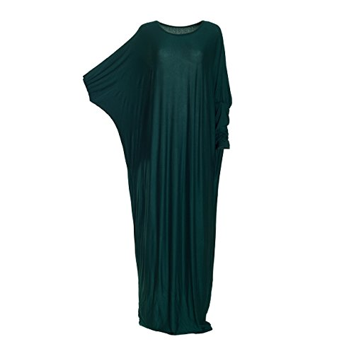 Abito lungo per le donne islamiche, in jersey, maniche a pipistrello, tinta unita Green