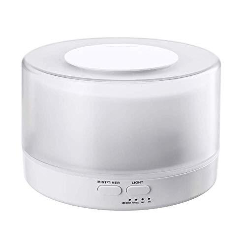 HH-JSQ 700ml Luftbefeuchter Ultraschall Diffuser 7-farbige LED-Lichter Leiser Nachtmodus (bis 40m²) für Raum Büro Yoga Spa usw,White