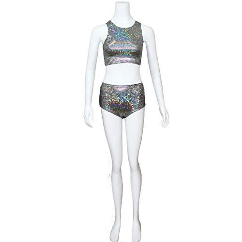 Top Booty Shorts (Lyguy Bikini Set, Damen Zweiteiler Badeanzug Set Metallic Rave Crop Top Hohe Taille Booty Shorts Unterteile Hologramm Regenbogen Outfit Criss Cross Strappy Bandage Beachwear XL)