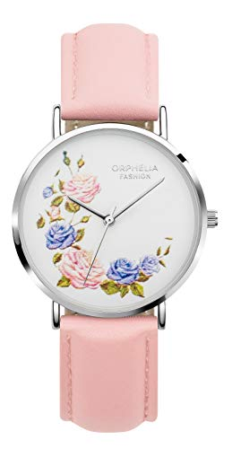 Orphelia Fashion Damen Analog Quartz Uhr Floral mit Leder Armband Floral Fashion