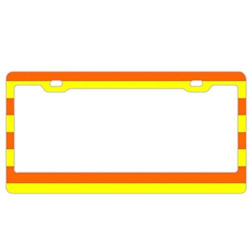 DIY Rine Aluminium Metall Kennzeichenrahmen Humor Kennzeichenrahmen Abdeckung Halter Auto Tag Rahmen 2 Loch Schrauben, Orange and Yellow Stripes -