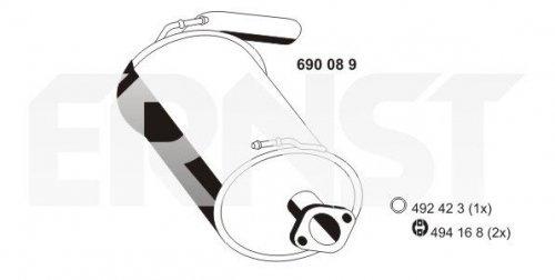 Preisvergleich Produktbild ERNST 690089 Endschalldämpfer Nachschalldämpfer,  ESD,  Endtopf