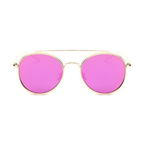QHGstore Forme a mujeres retro de la moda del aviador espejo lente gafas de sol de los vidrios Rose