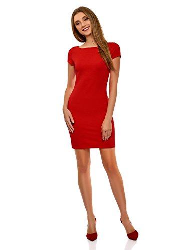 oodji Ultra Damen Kleid aus Strukturiertem Stoff mit U-Boot-Ausschnitt, Rot, DE 36 / EU 38 / S