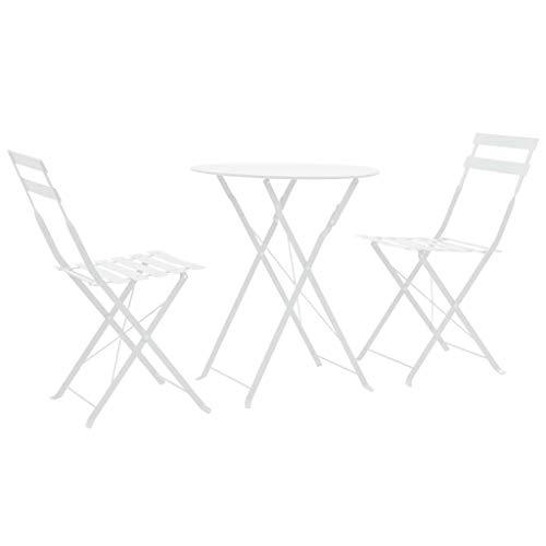 Festnight- Bistro-Set 3-TLG. Wei? Stahl Sitzgruppe, inkl 1 Klapptisch und 2 Klappstühle, Gartenm?Bel Balkonm?Bel Terrassem?Bel