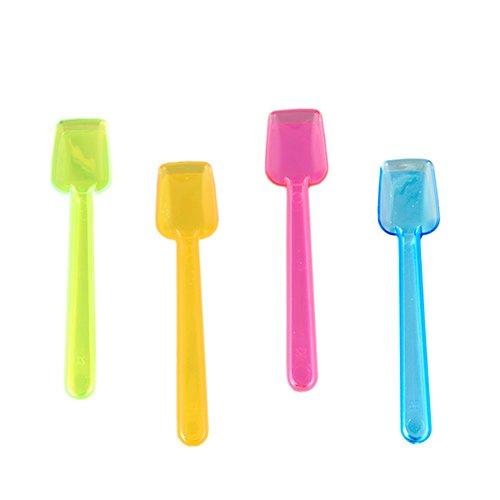 Knusper.haus Sachet de 100 cuillères à glace en plastique Fluo Couleurs assorties 9,3 cm