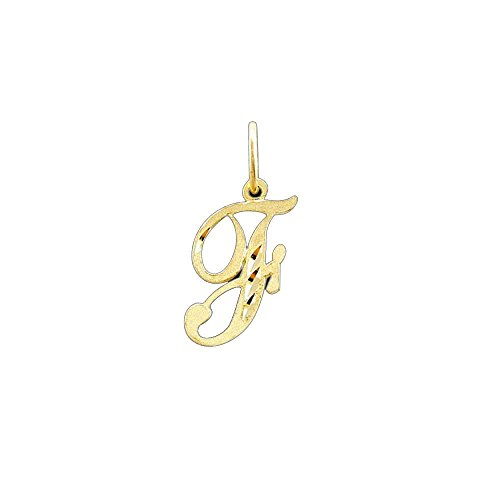 Paradise Jewelers cursiva f inicial sólido amarillo colgante de la letra del oro de las mujeres
