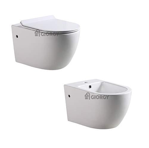 SANITARI WC VASO BIDET COPRIVASO TERRA O SOSPESI SOFT-CLOSE BAGNO SERIE COMPLETA TONDA (WC + COPRIVASO + BIDET, VERSIONE SOSPESA)