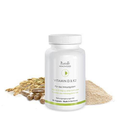 PlantaVis Vitamin D & K2 Kapseln | für das Immunsystem | Monatspackung | vegan