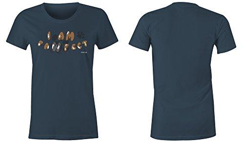 I Am Paw Fect ★ Rundhals-T-Shirt Frauen-Damen ★ hochwertig bedruckt mit lustigem Spruch ★ Die perfekte Geschenk-Idee (03) dunkelblau