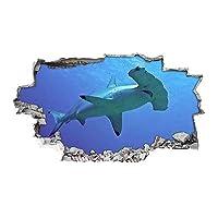 Hammerhead Shark Ocean Sea Vinyl Poster Livingroom Wall Decal Art 3D Stickers (Medium (52x30cm))