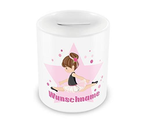 Samunshi® Kinder Spardose mit Namen und Ballerina als Motiv für Kinder - Jungen und Mädchen Sparschwein Nr.6: weiß H:95mm / D:82mm