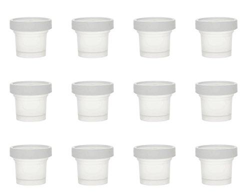 Tikwisdom - Botes de plástico con tapa de 100 ml de grosor de alta calidad con tapa – Yogurt contenedor – helado crema/mousse tarta/postre pudín, especias, 1 juego (12 jars+12 cucharas de plástico)