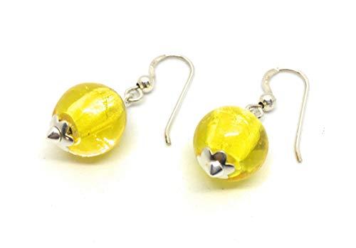 Pendientes en plata y cristal artesanal amarillo, bola de 12 mm