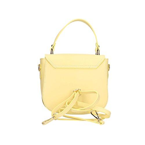 Chicca Borse Handtasche aus echtem italienischem Leder 20x17x7 Cm Gelb