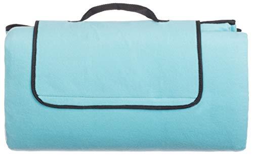 Brandsseller Fleece-Picknickdecke XXL ca. 200 x 200 cm - mit Schaumstofffüllung und Wasserfeste PEVA-Unterseite (Türkis) -