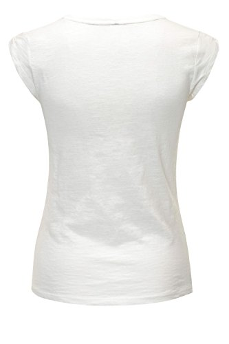 Hachiro Damen T-Shirt Kurzarmshirt Shirt Stretch Print Offwhite/Anchor