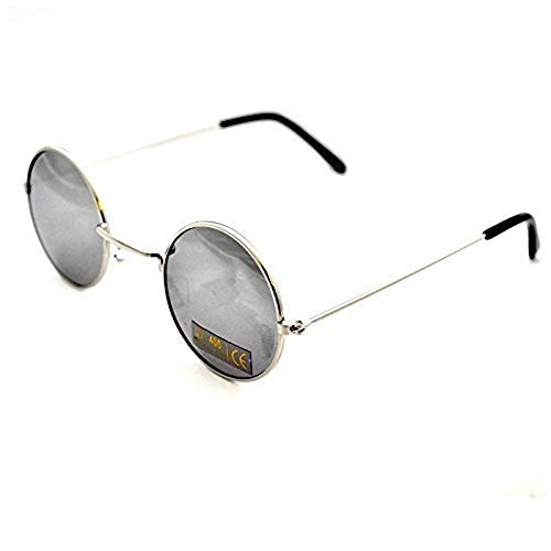 Minimale Maus Metall rund Objektiv John Lennon Sonnenbrille, UV400, One size, Silber
