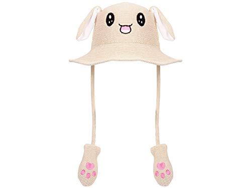Lustige Mütze mit Ohren Bunny Hat Hasen Häschen Hut Festival beweglich Plüsch Pump Airbag Beige Herren Damen (Plüsch Funny Bunny Kostüm)