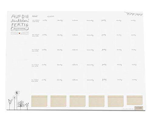Große XXL A2 Schreibtischunterlage weiß mit Monatsübersicht | Auch für Bullet Journaling | Papier zum Abreißen | 42x59 cm, 25 Blatt Schreibunterlage Abreißblock | Recyclingpapier klimaneutral (Kalender Recycling-papier)