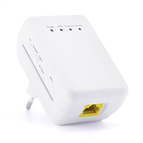 CSL - 300 Mbit WLAN / WiFi Repeater / WLAN Access Point / Client 11n 2T2R | WLAN-Verstärker | 2,4 GHz Frequenz | 3x Betriebsmodi (Repeater, Access Point, Client) | IP-Vergabe über DHCP | 2T2R MIMO | WPS-Taste
