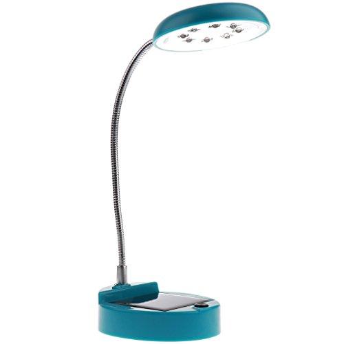 Baoblaze Lampe de Table Solaire de 8 LED, USB Rechargeable - Portable & Flexible - Bleu