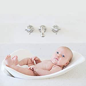 Puj Tub - The Soft, Foldable Baby Bathtub – Bathtime for Newborn Baby, Infant, 0-6 Months, In-Sink Baby Bath, BPA free, PVC free - White