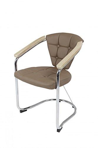 Latte-stühle (Dreams4Home 4x Konferenzstuhl 'Paul I', Stuhl, Konferenz, Kunstleder, Büromöbel, Latte, Sonoma Eiche, Set)