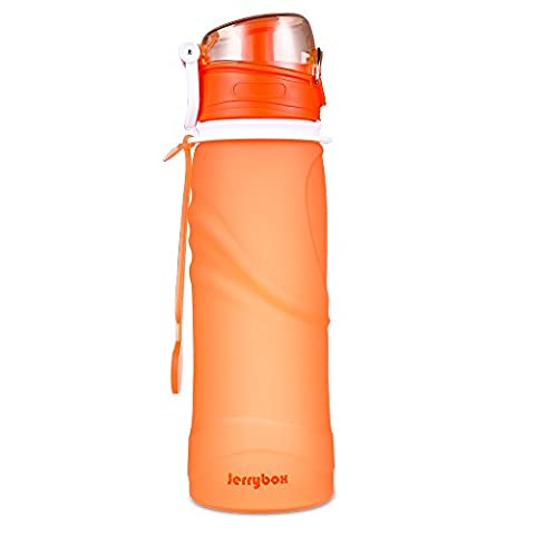 JerryBox Collapsible Water Bottle - 750ml, Silica Gel, Medical Grade, BPA Free, FDA Approved, Leak Proof Silicone Foldable Sports Bottle, for Sport, Outdoor, Travel, Camping, Picnic(26 oz)